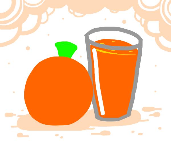 Orange next to its juice