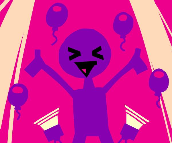 Purple man celebrates