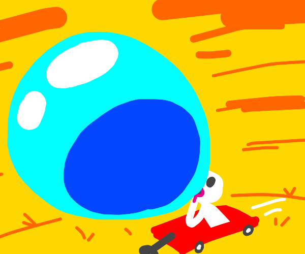 Guy blowing a gigantic bubble with a wagon