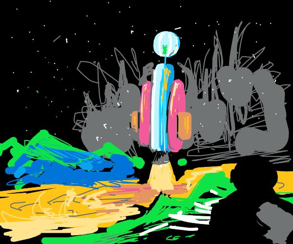 sad alien leaves earth