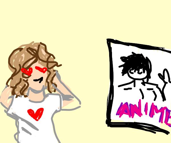 Girl has a crush on anime guy