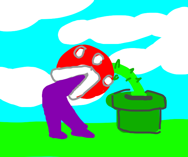 piranha plant eats a purple guy