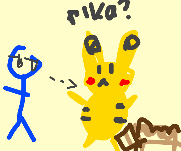 Guy looks at pikachu and litterbox