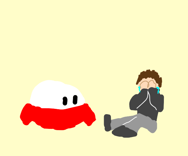 white blob with red shirt watches person cry