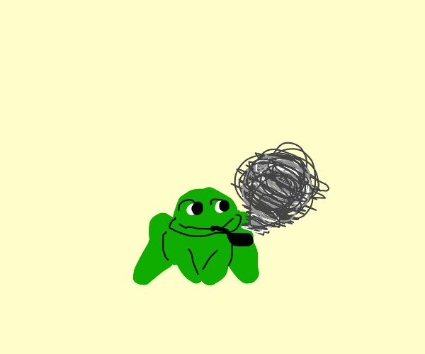 froggy smokin weed!!