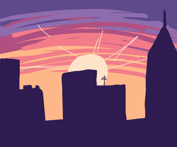 sunrise in a city