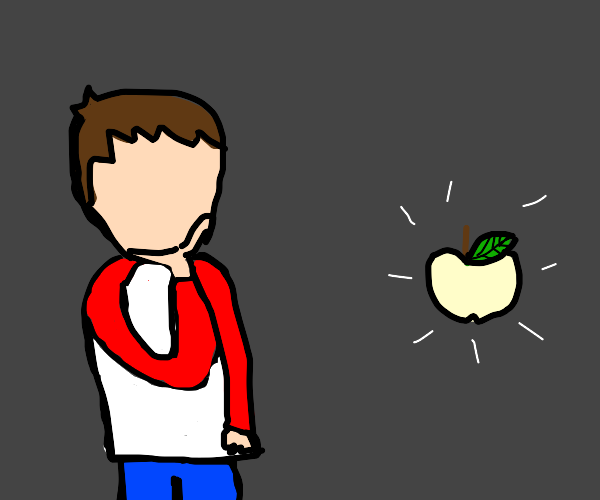 Person contemplating a pale colored apple