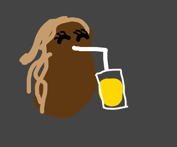 brown thing sips lemonade with a straw