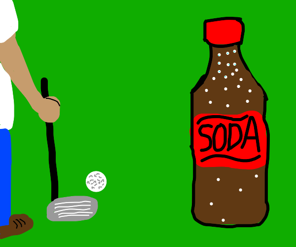 playing golf next to a very large soda bottle
