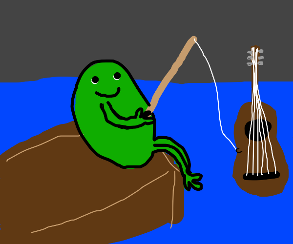 Frog goes fishing, catches a guitar