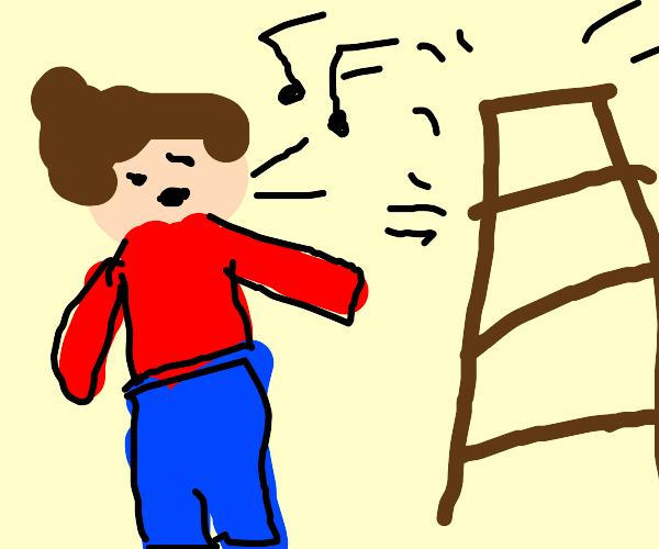 Man will trip on ladder