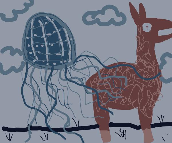 The dreaded sky jellyfish attacks a llama.