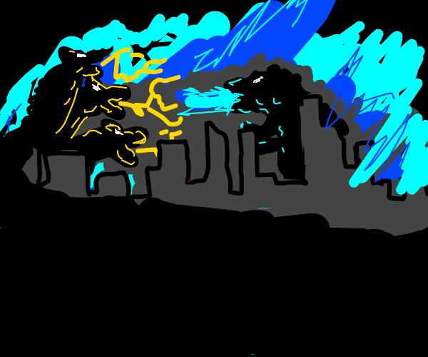 Godzilla vs some cool dragon thing