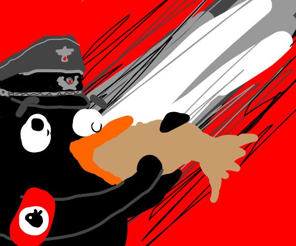 The nazi penguin eats a raw ass fish