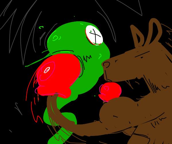 Kangaroo boxing with a green thingy