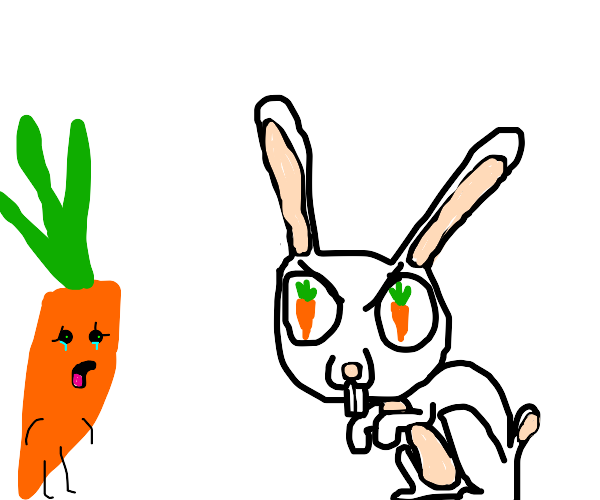 Bunny wants to eat a carrot