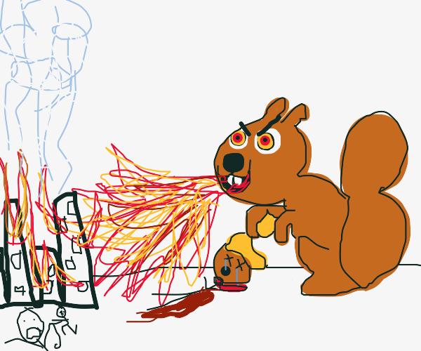 Demon squirrel wolf breathes fire on city