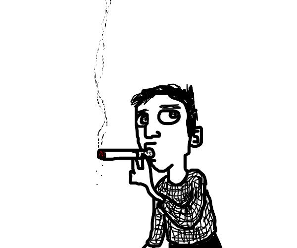 young boy smoking a cigarette