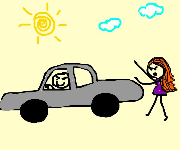 bad stickman steals a car