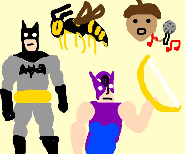 Batman, Wasp, Hawkeye and... singing nut?