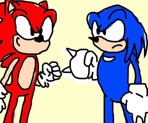 Red Sonic VS Blue Knuckles