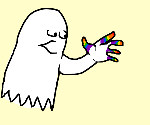 ghost with rainbow fingers