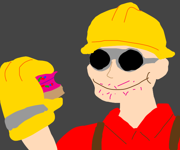 Engineer eating a Doughnut