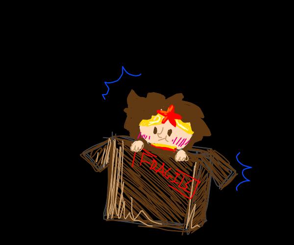 Wonder Woman in a fragile box