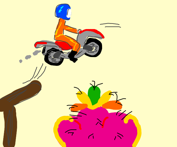 daredevil jumps over strange object