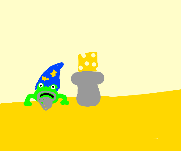 Frog wizard guarding cheese in the desert