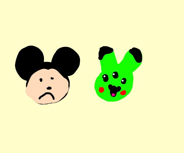 mickey sad from pikachu alien