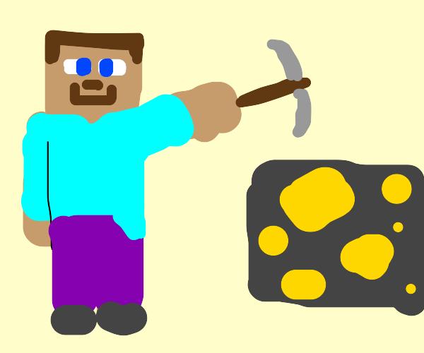 Guy mining gold
