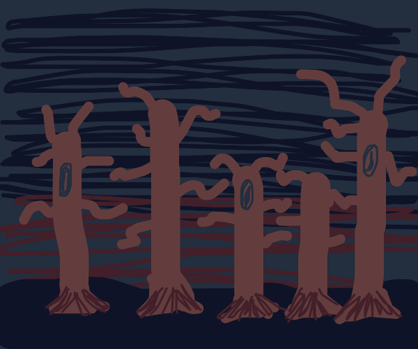 spooky forest with leaveless trees