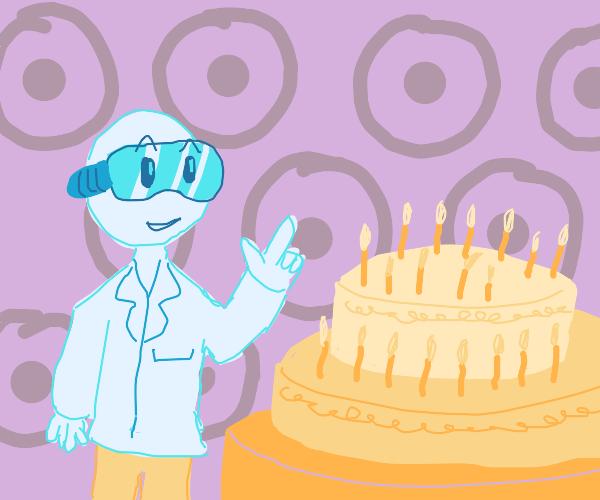 Scientist analyzes cake