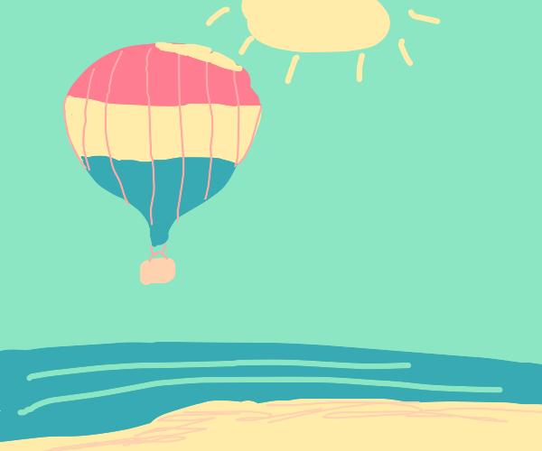 Hot Air Balloon soars above a relaxing beach