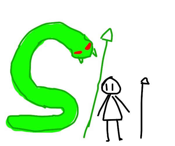 Giant snake oversize a human