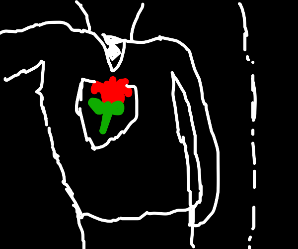 The rose is a man in a black glass