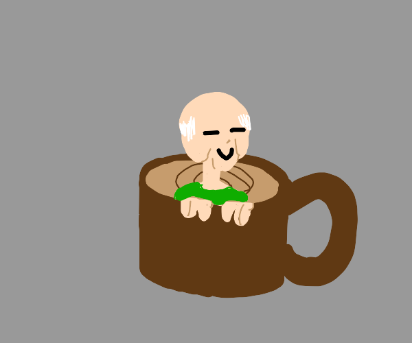 Old man in a cup