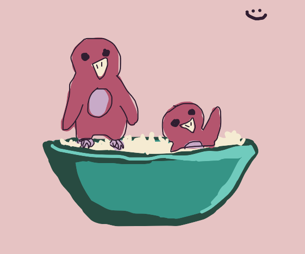 tiny owls play in a bowl of rice
