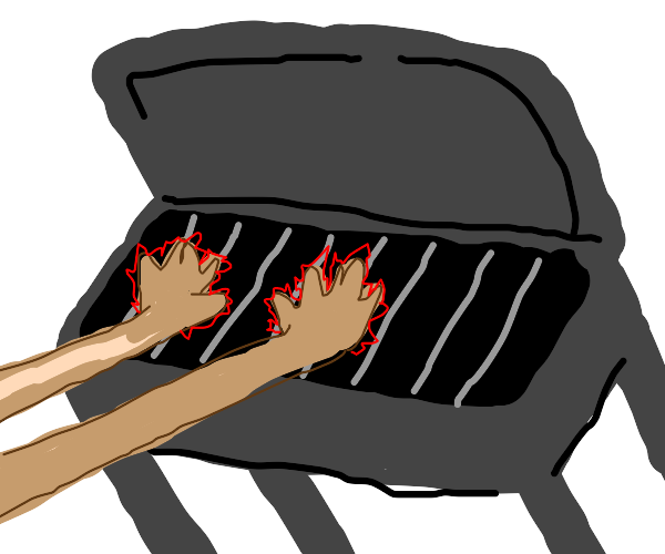 Placing your hands directly on grill