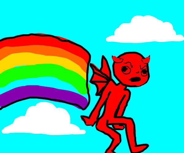 Flying raingow demon man