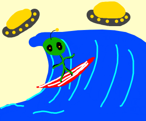 Surfboarding alien