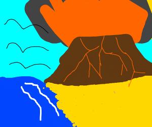 Vulcano exploting over peacefull landscape