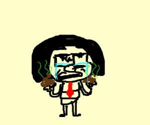 edna mode crying with a red tie holding poo