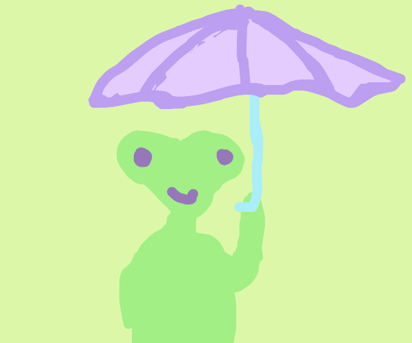 Cute alien has an umbrella