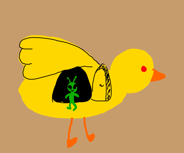 Alien coming out of a duck