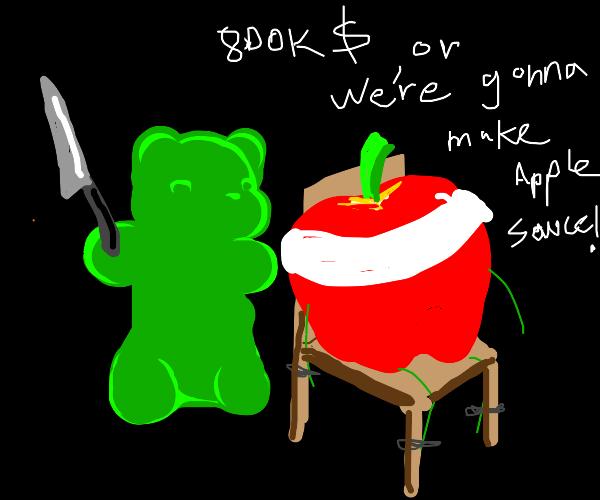 Gummy bear holds fruit for ransom