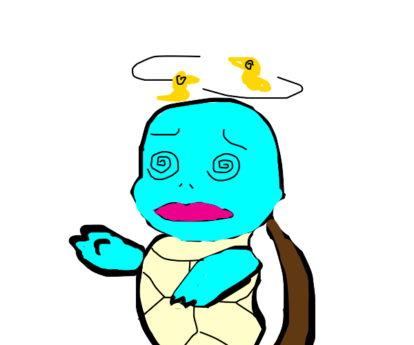 Blue turtle with swirly eyes