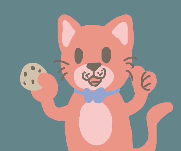 Bowtie cat congratulates you, offers a cookie
