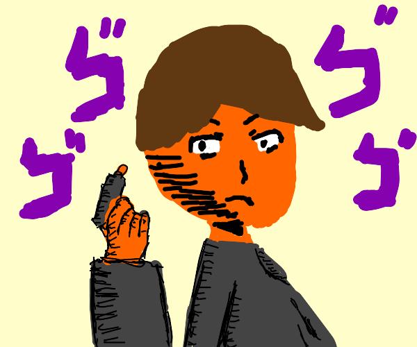 orange man holding gun menacingly